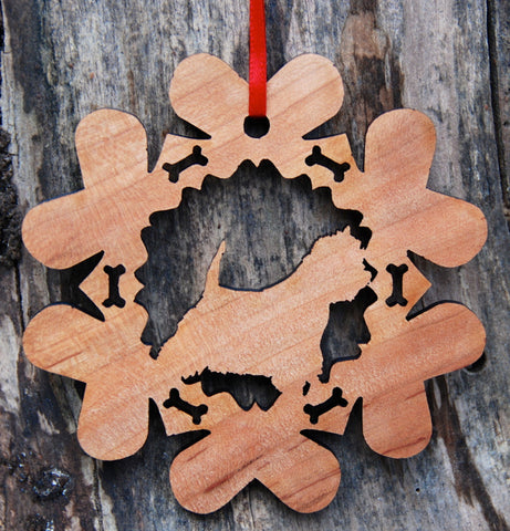 Cherry Wood Laser Cut Dog Bone Snowflake Christmas Ornament - West Highland White Terrier Westie