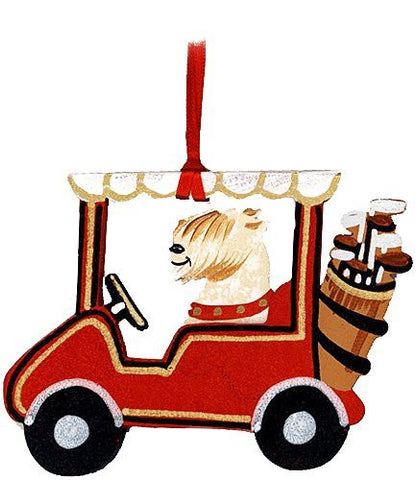 Golf Cart Dog Wood 3-D Hand Painted Ornament - Wheaten Terrier