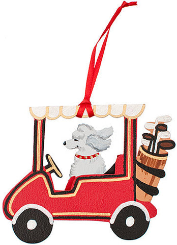Golf Cart Dog Wood 3-D Hand Painted Ornament - White Poodle