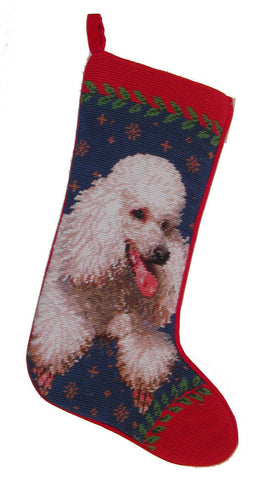 "White Poodle Dog Christmas Needlepoint Stocking - 11"" x 18"""