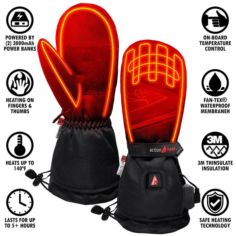 Action Heat 5 Volt Rechargeable Heated Mittens Womens - L/XL