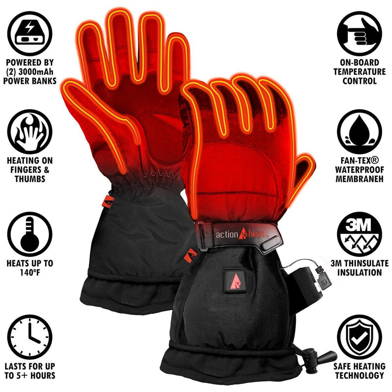 Action Heat 5 Volt Rechargeable Heated Gloves Womens - XS