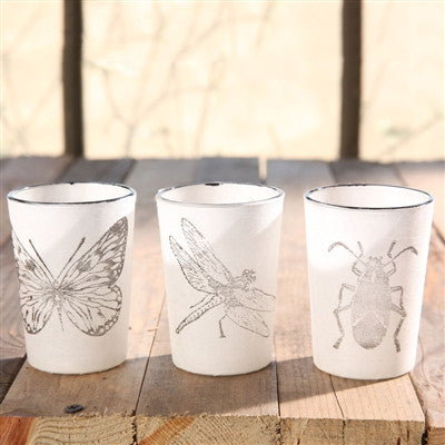 Insect Stamped Glass Tealight Cups - shopalmostheaven