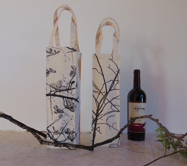 Two Screen Printed Wine Bags - shopalmostheaven
