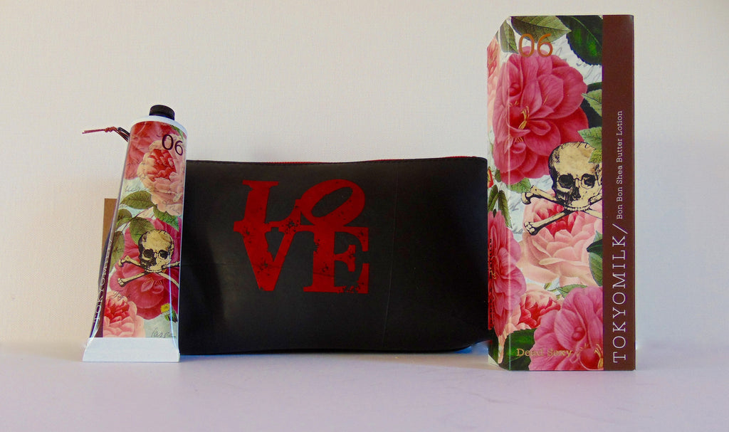Recycled Cosmetic Bag and Dead Sexy Lotion - shopalmostheaven