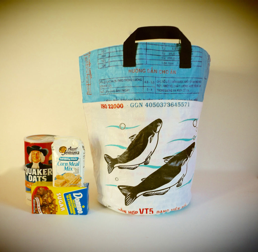 Recycled Round Bins in Ocean/White - shopalmostheaven - 1