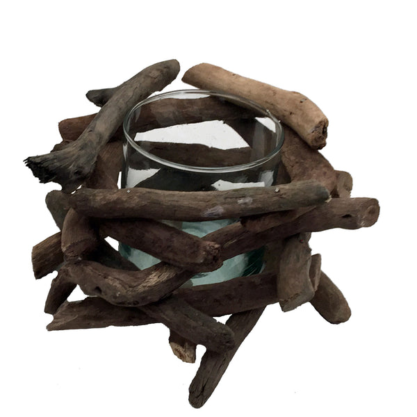 Single Driftwood Candle Holder - shopalmostheaven