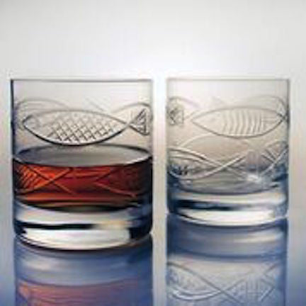 4 GO FISH On the Rocks Glasses - shopalmostheaven