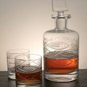 GO FISH Decanter and 4 On the Rock Glasses - shopalmostheaven