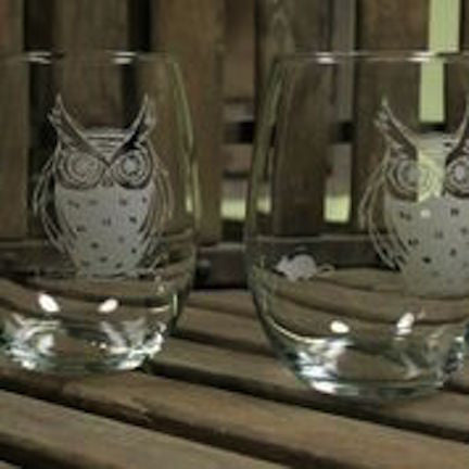 2 Etched Owl Wine Tumblers - shopalmostheaven