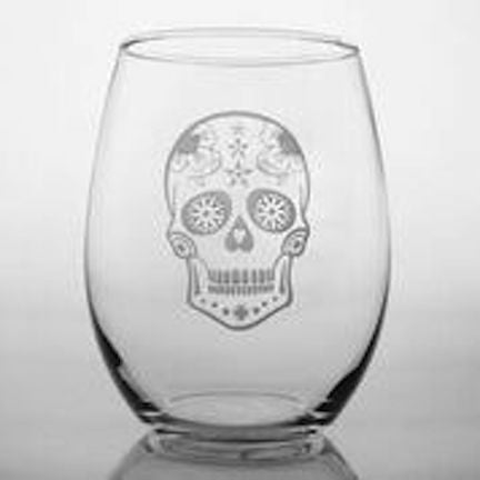 4 Skull Etched Wine Tumblers - shopalmostheaven