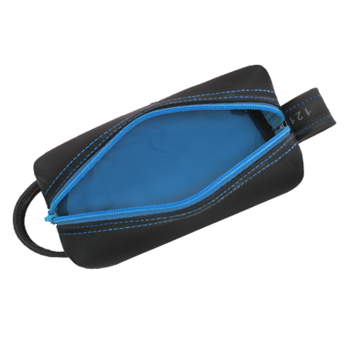 Dopp Kit Blue Jay Made of Recycled Tires - shopalmostheaven