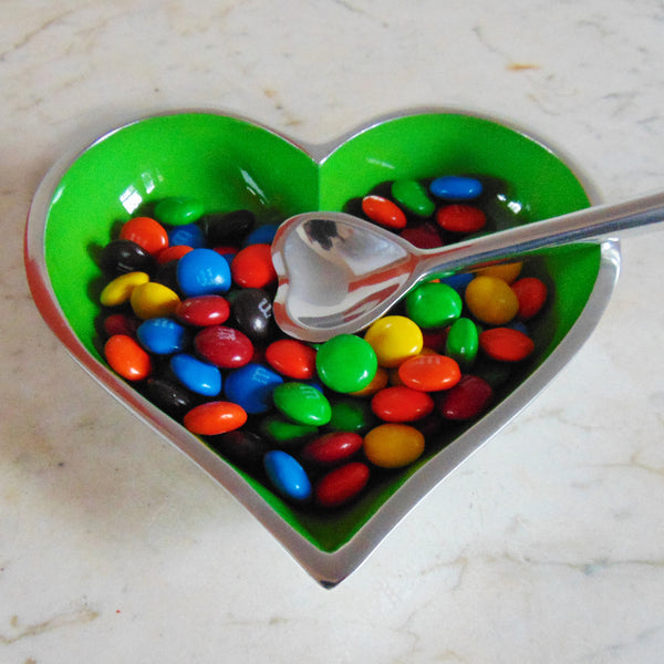Lil Heart Dish with Heart Spoon Green - shopalmostheaven - 1