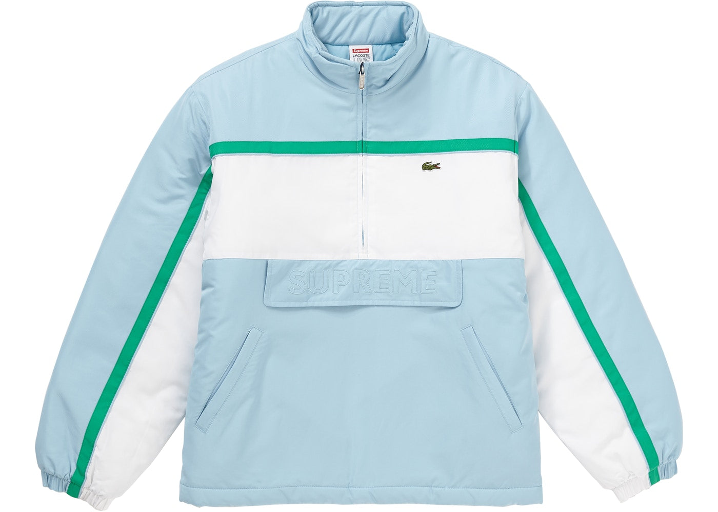 "Supreme × Lacoste ""Puffy Half Zip"" Pullover Jacket"