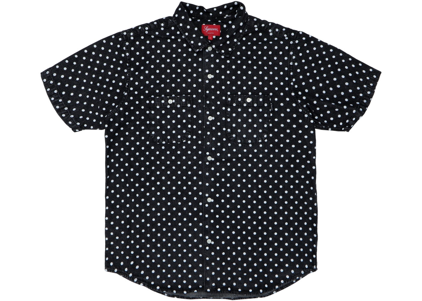 "Supreme ""Polka Dot Denim"" Button Up Short Sleeve Shirt"