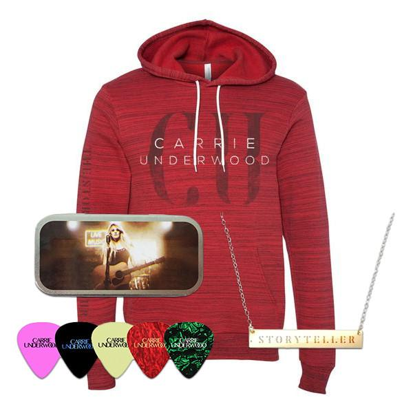 Red Fade Hoodie, Necklace, Pick Tin Bundle