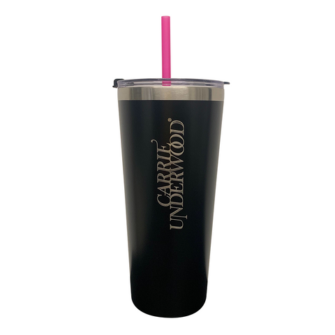 Black Thermal Cup with Straw