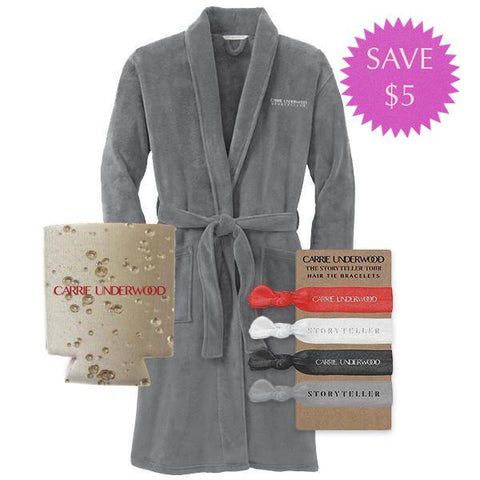 Plush Robe, Storyteller Hair Ties, & Gold Koozie Pack