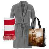 Plush Robe, Striped Scarf, & Tote Bundle