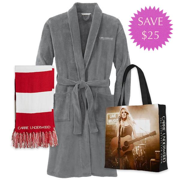 Plush Robe, Striped Scarf, & Tote Pack