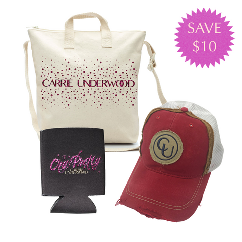 "Glitter Print Bag, Red Hat, & ""Cry Pretty"" Koozie Pack"