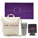 "Towel, Glitter Print Bag, Tumbler & ""Cry Pretty"" Koozie Pack"