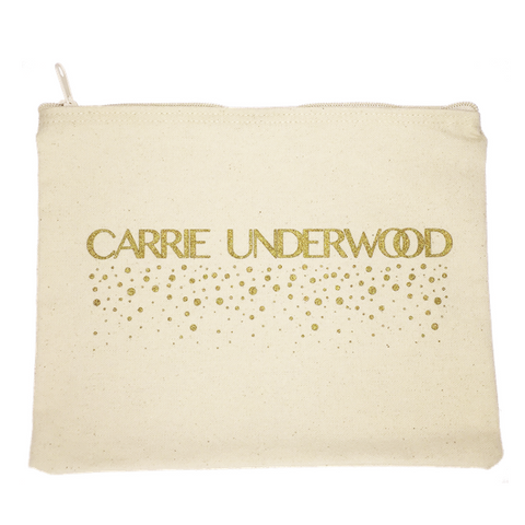 Gold Print Canvas Clutch