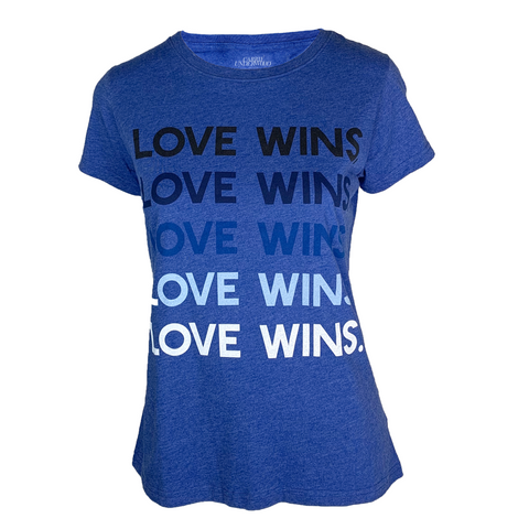 "Ladies ""Love Wins"" Blue Tee"