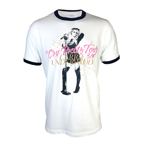 The Cry Pretty Tour 360 White Ringer T-Shirt