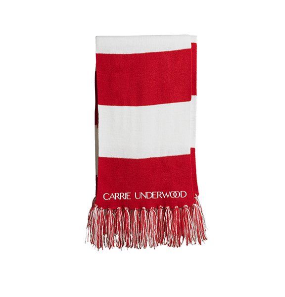 Fringed Red & White Scarf