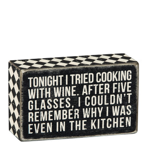 Cooking With Wine Box Sign