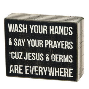 Jesus and Germs Box Sign