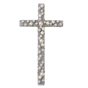 Gray Wood Cross With Pearls