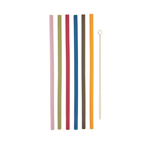 Silicone Straws - Set of 6 with Cleaning Tool