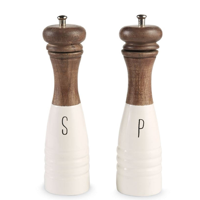 Wood/Enamel Salt & Pepper Mill Set
