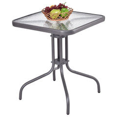 "Globe House Products GHP Home Outdoor 28"" H Durable and Sturdy Waterproof Tempered Glass Square Table"