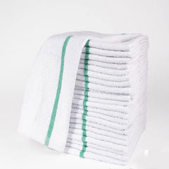 "GHP 12-Pcs Green Stripe 16""x19"" Heavy Duty 34oz Cotton Terry Cleaning Bar Mop/Towels"