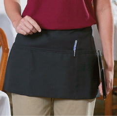 "GHP 24-Pcs Black 12""Lx22""W Traditional 100% Spun Polyester Waist Aprons with Pockets"