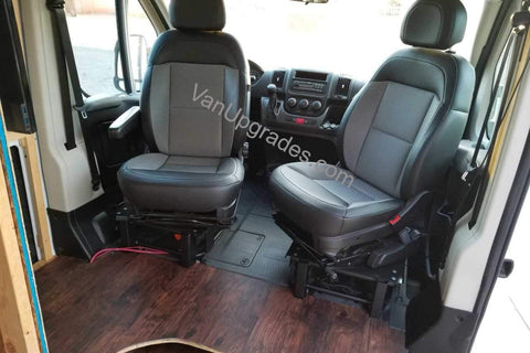 Promaster Van with seat swivels and lowered bases installed