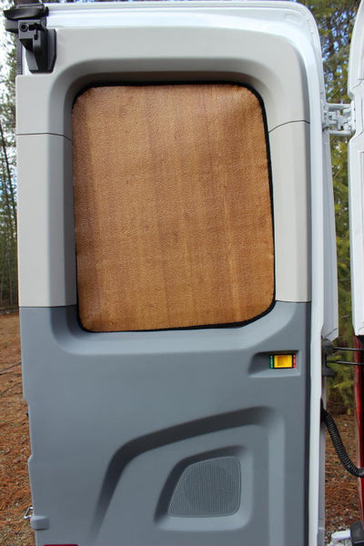 Promaster van rear door window insulation panel - show on a Transit