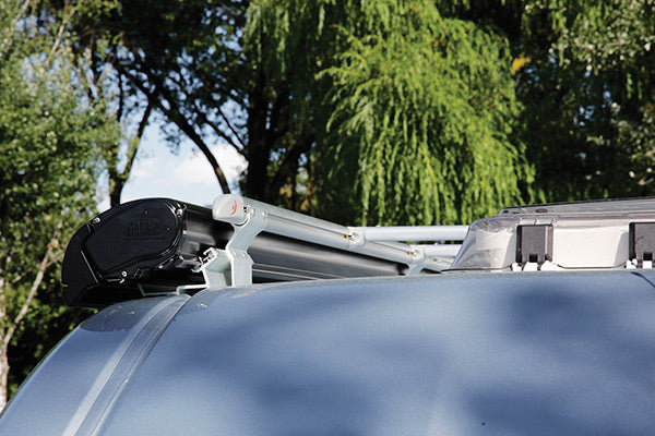 Promaster roof rack system with awning attached