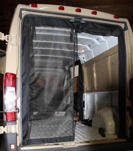Dodge Ram Promaster rear door screen open