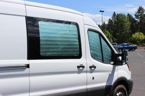 Transit window insulation kit on slider door and passenger door