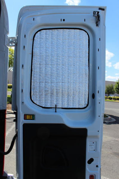 Promaster cargo door insulation with door open - Shown on Transit
