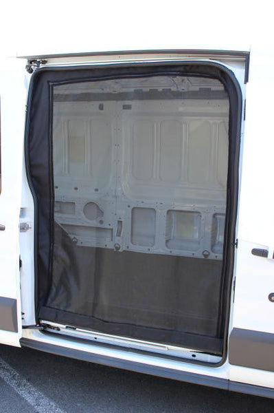 Transit van close view of slider door insect screen