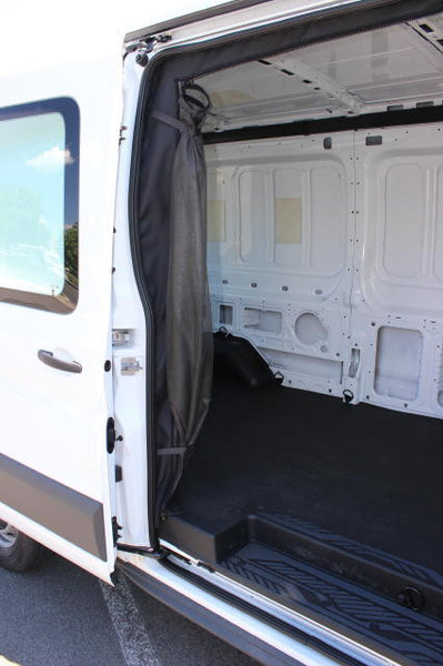 Nissan NV van slider door insect screen rolled up shown on transit