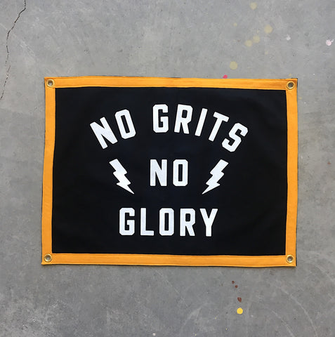 """No Grits No Glory"" Camp Flag • Black"