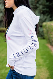 Lakegirl crossover hoodie in white french terry with our lily patch design. A great summer-weight hoodie perfect for evenings at the lake.