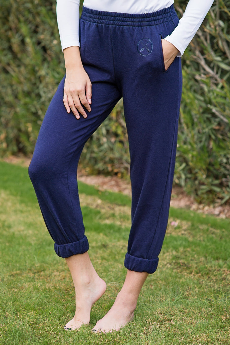 Lakegirl navy french terry sweatpants with tonal embroidery. Soft and comfy, perfect for lounging at the lake.