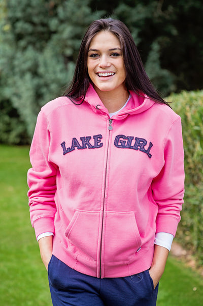 Lakegirl Classic full zip hoodie, bright pink lemonade with navy applique across front. The perfect sweatshirt jacket for an evening on the lake.